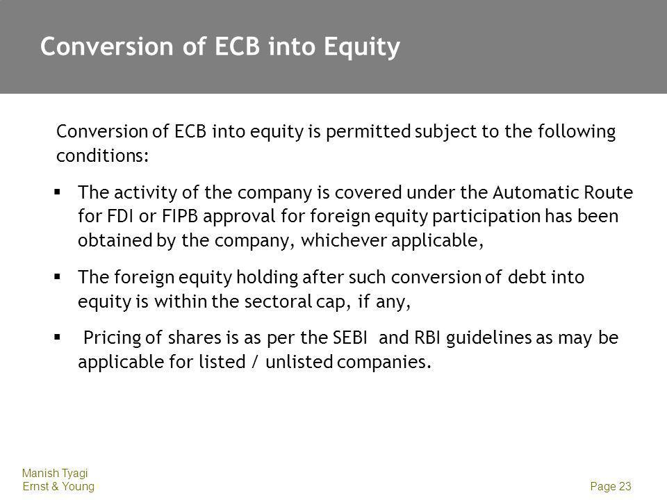 Conversion of ECB into Equity
