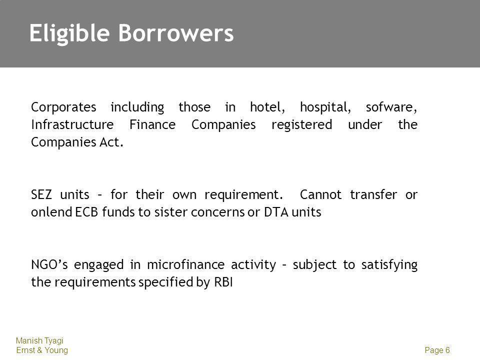 Eligible Borrowers Entities that are excluded: