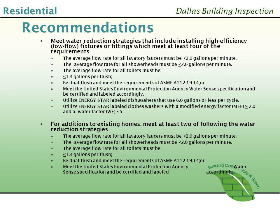 Recommendations Residential