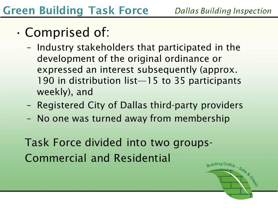 Comprised of: Green Building Task Force