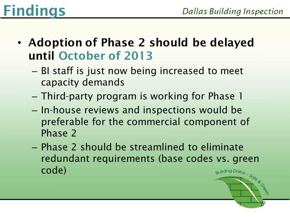 Findings Adoption of Phase 2 should be delayed until October of 2013