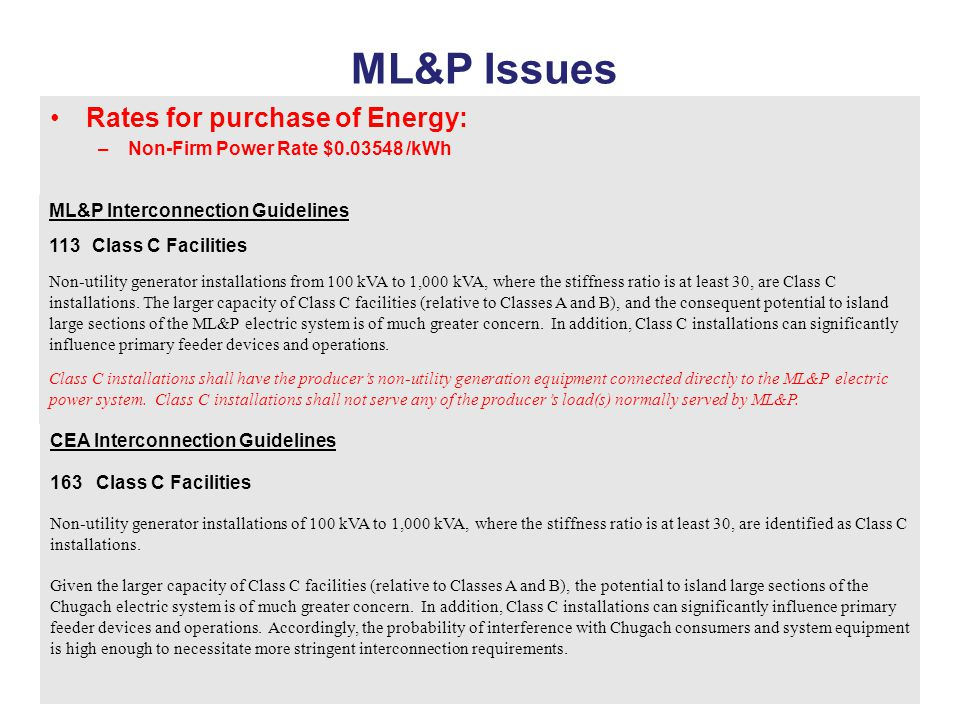 ML&P Issues Rates for purchase of Energy: