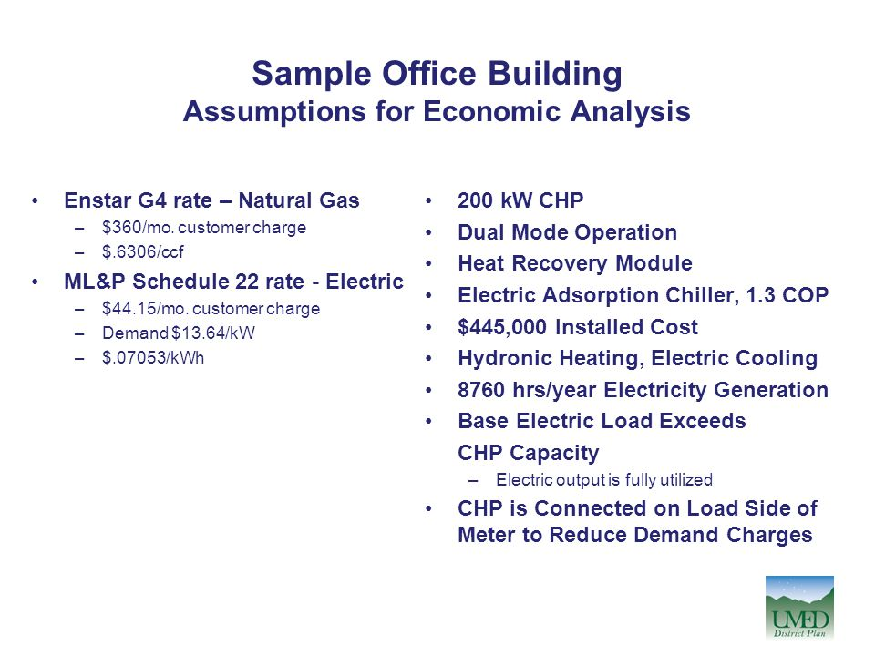 Sample Office Building Assumptions for Economic Analysis