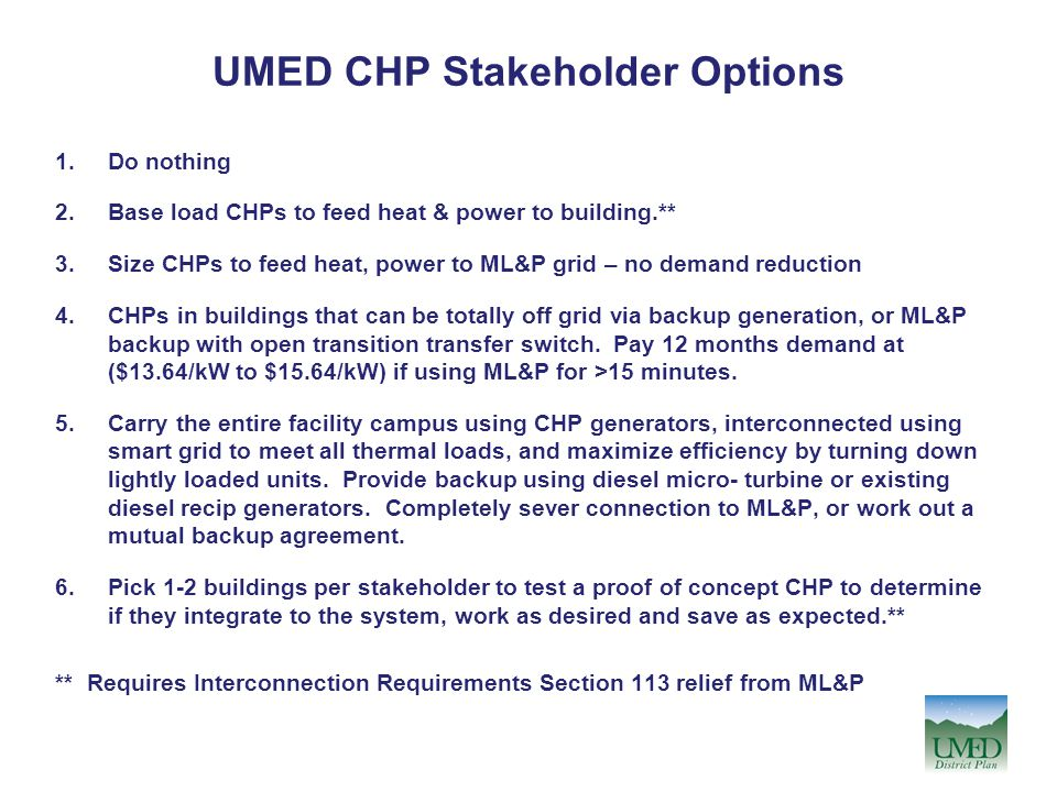UMED CHP Stakeholder Options