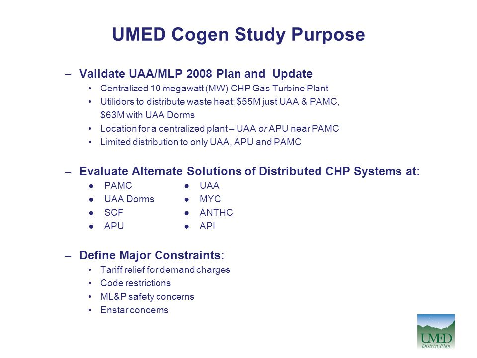UMED Cogen Study Purpose