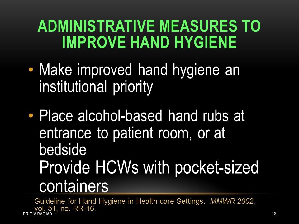Administrative Measures to Improve Hand Hygiene