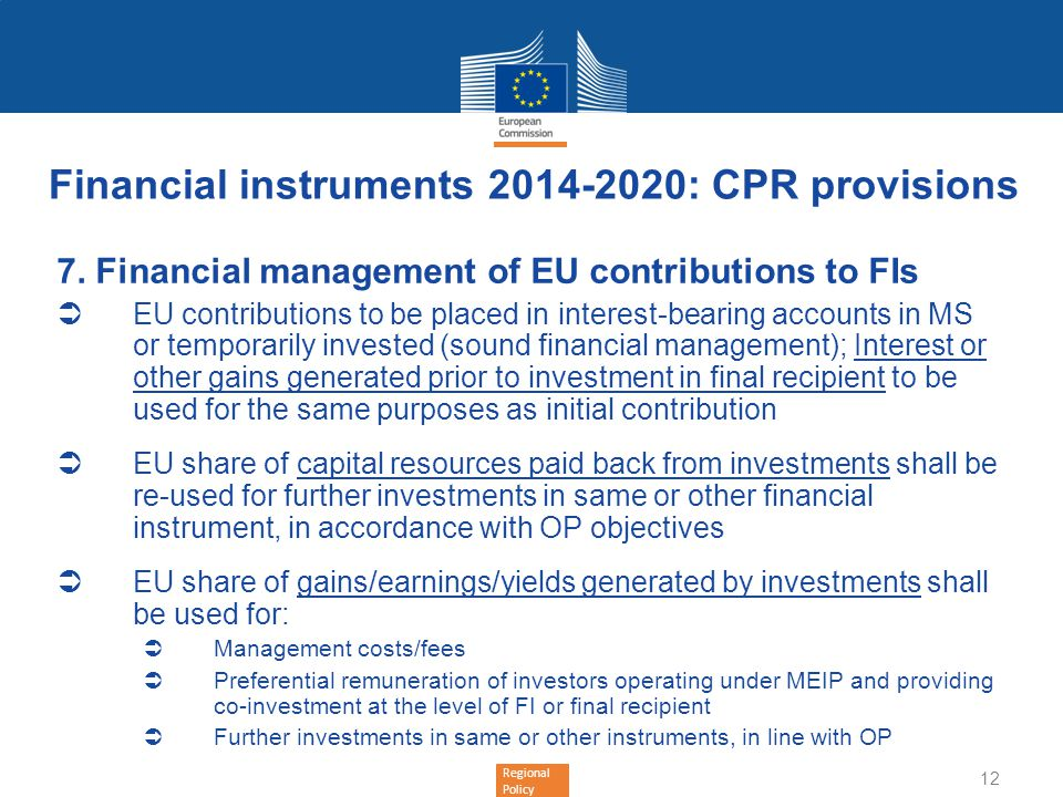 Financial instruments : CPR provisions