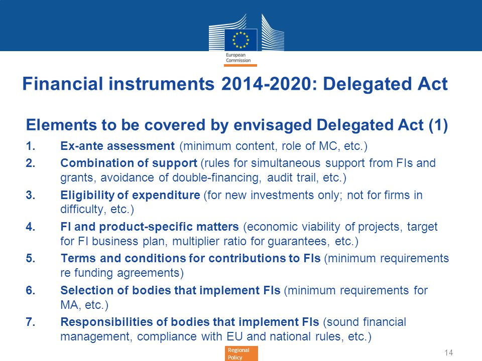 Financial instruments 2014-2020: Delegated Act