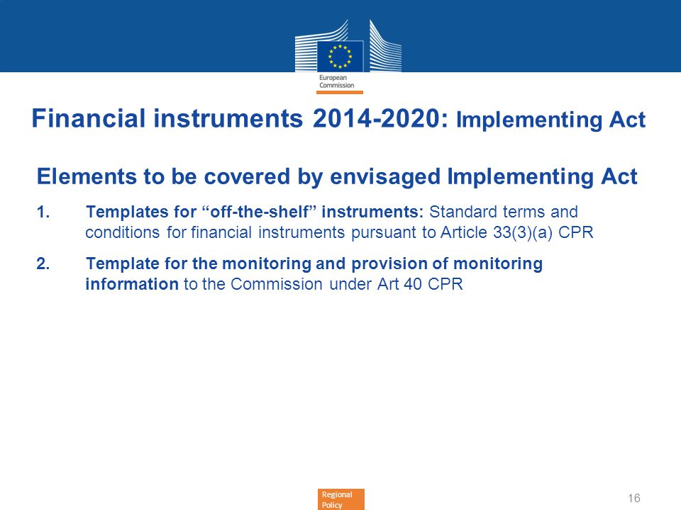 Financial instruments 2014-2020: Implementing Act