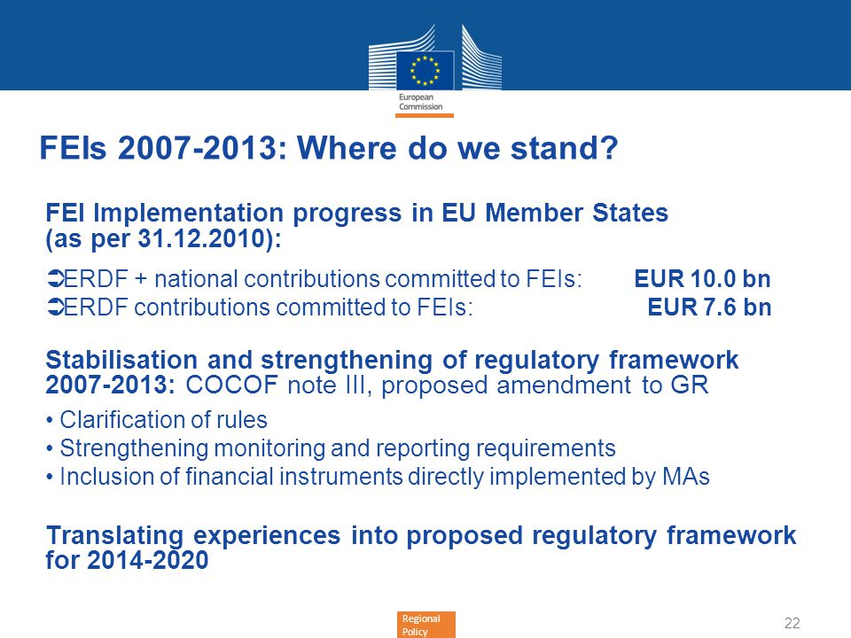 FEIs 2007-2013: Where do we stand