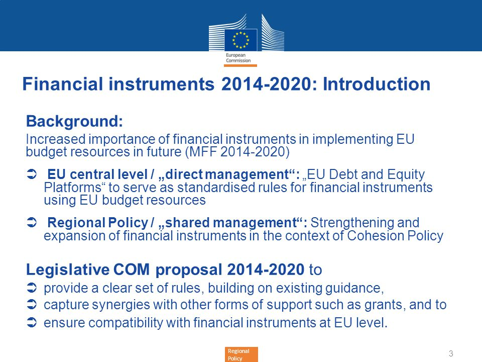 Financial instruments 2014-2020: Introduction