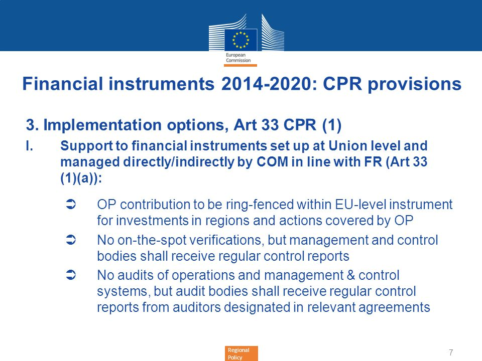Financial instruments 2014-2020: CPR provisions