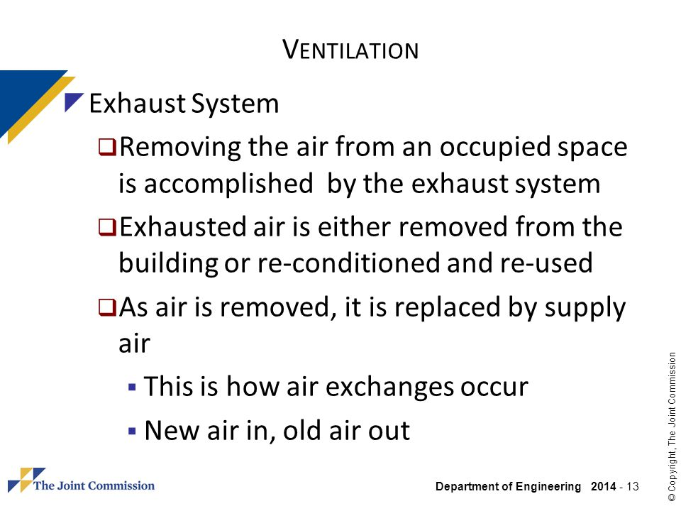 Ventilation Exhaust System. Removing the air from an occupied space is accomplished by the exhaust system.