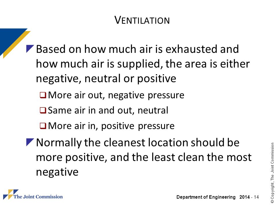 Ventilation Based on how much air is exhausted and how much air is supplied, the area is either negative, neutral or positive.