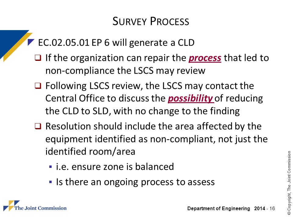 Survey Process EC.02.05.01 EP 6 will generate a CLD