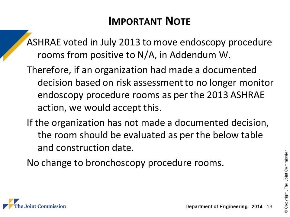 Important Note ASHRAE voted in July 2013 to move endoscopy procedure rooms from positive to N/A, in Addendum W.