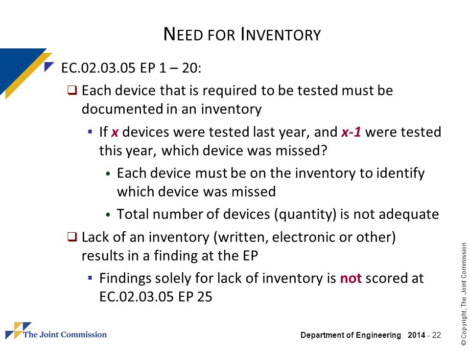 Need for Inventory EC.02.03.05 EP 1 – 20: