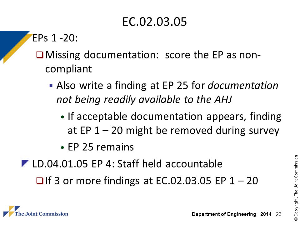 EC.02.03.05 EPs 1 -20: Missing documentation: score the EP as non-compliant.