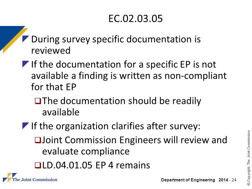 EC.02.03.05 During survey specific documentation is reviewed