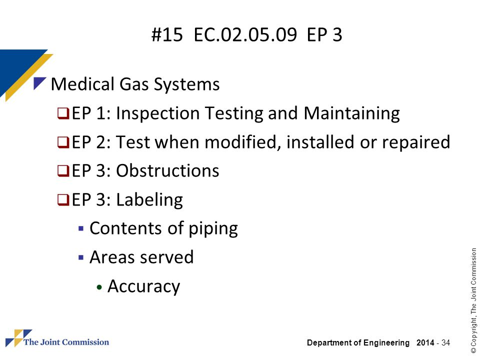 #15 EC.02.05.09 EP 3 Medical Gas Systems