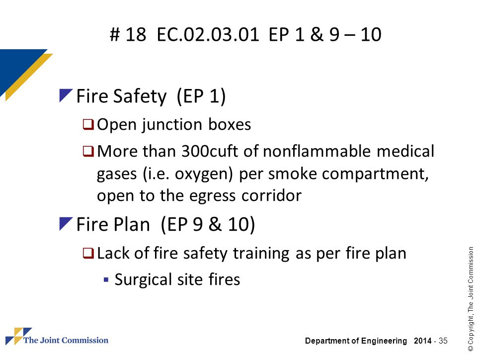 # 18 EC.02.03.01 EP 1 & 9 – 10 Fire Safety (EP 1)