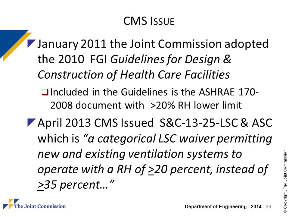 CMS Issue January 2011 the Joint Commission adopted the 2010 FGI Guidelines for Design & Construction of Health Care Facilities.