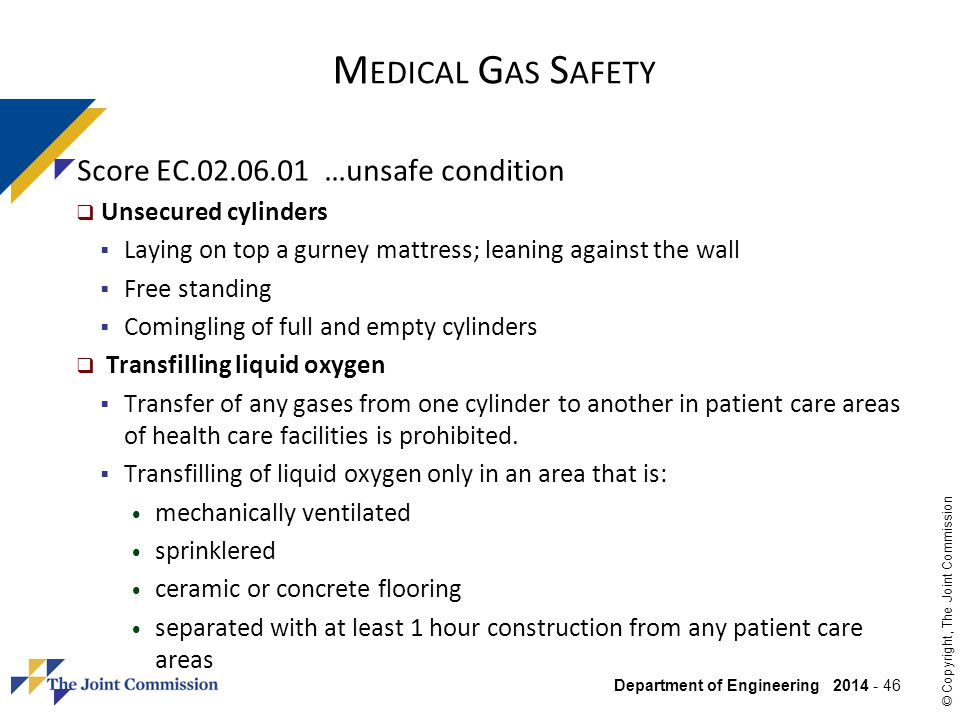 Medical Gas Safety Score EC.02.06.01 …unsafe condition