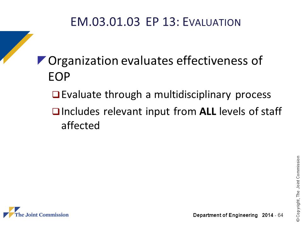 Organization evaluates effectiveness of EOP