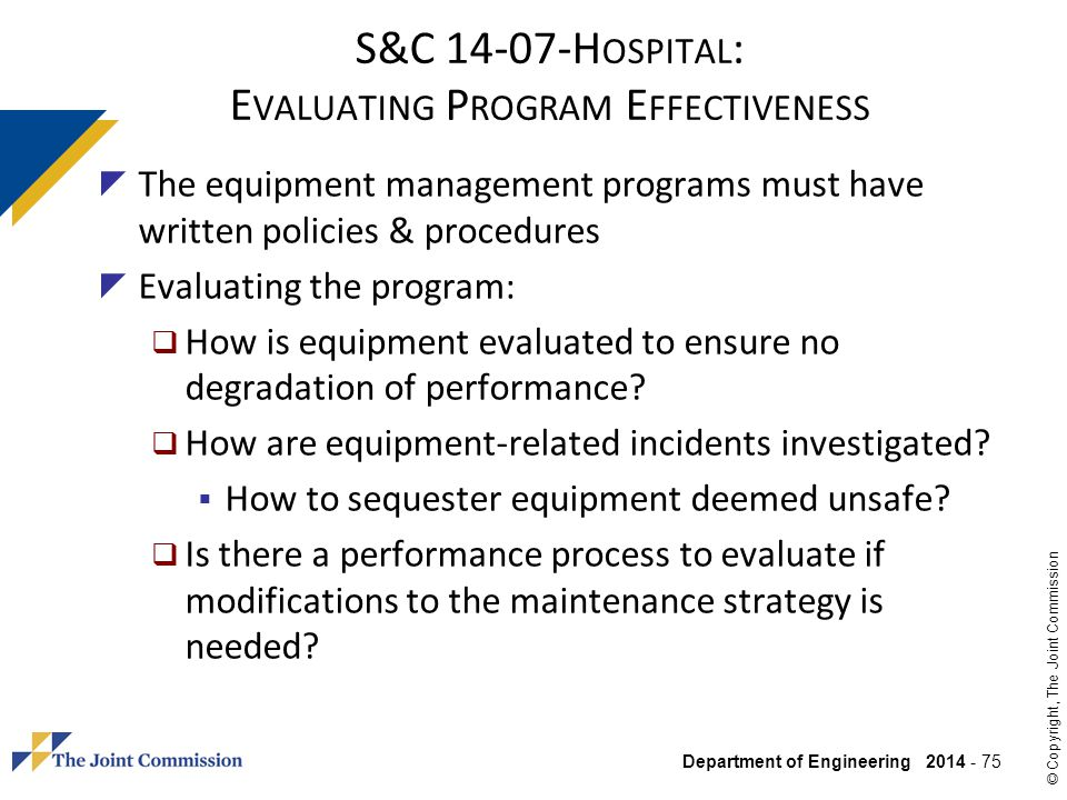 S&C 14-07-Hospital: Evaluating Program Effectiveness