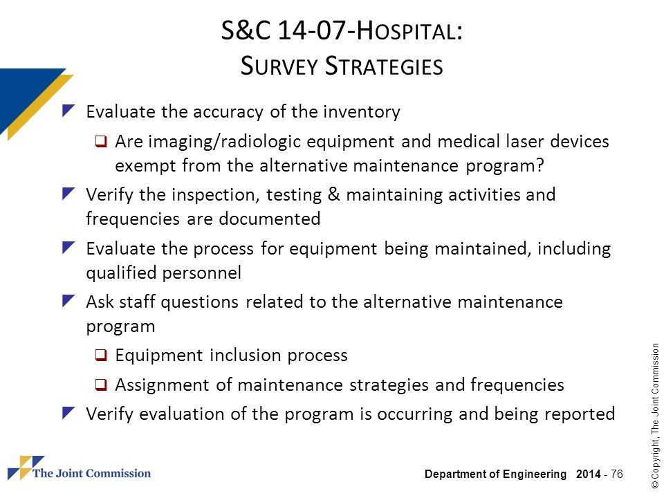 S&C Hospital: Survey Strategies