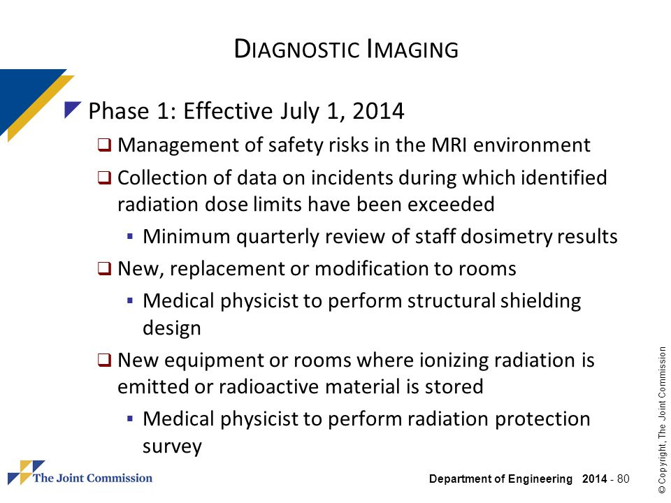 Diagnostic Imaging Phase 1: Effective July 1, 2014