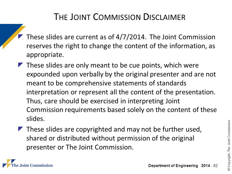 The Joint Commission Disclaimer