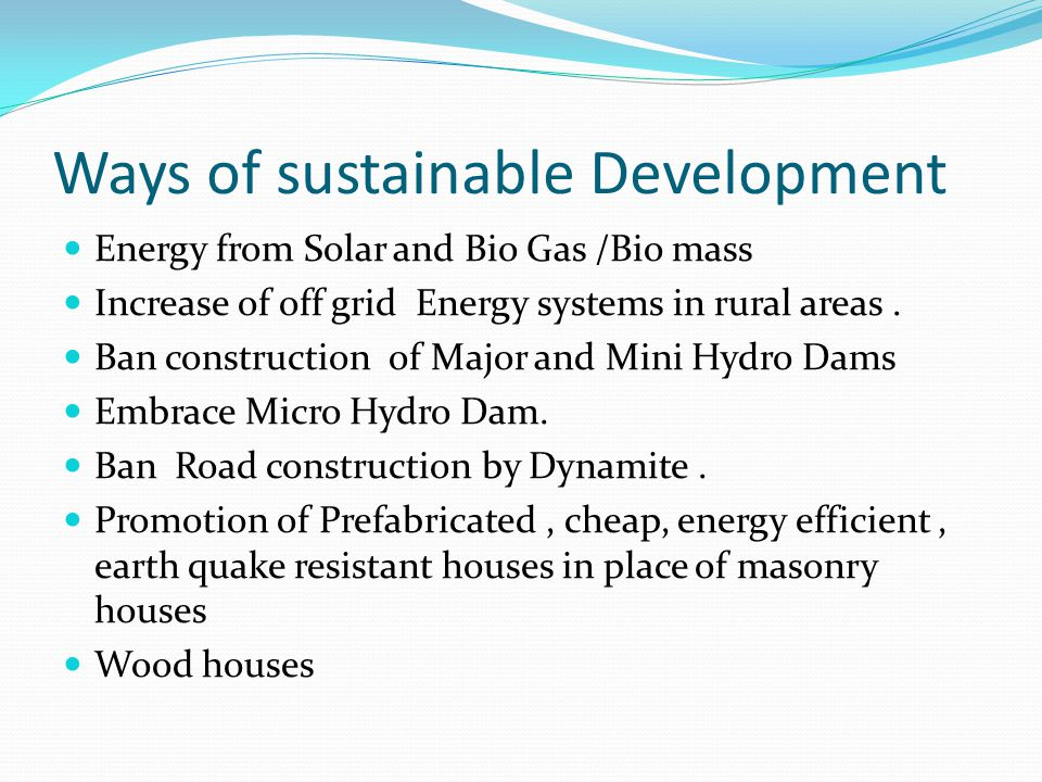 Ways of sustainable Development