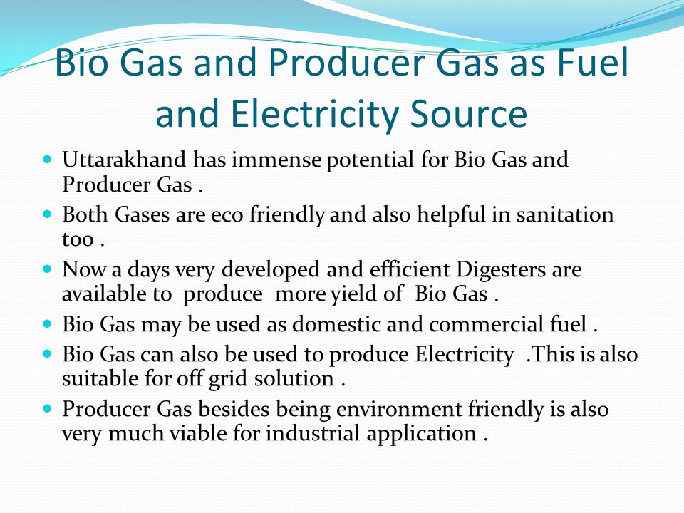 Bio Gas and Producer Gas as Fuel and Electricity Source