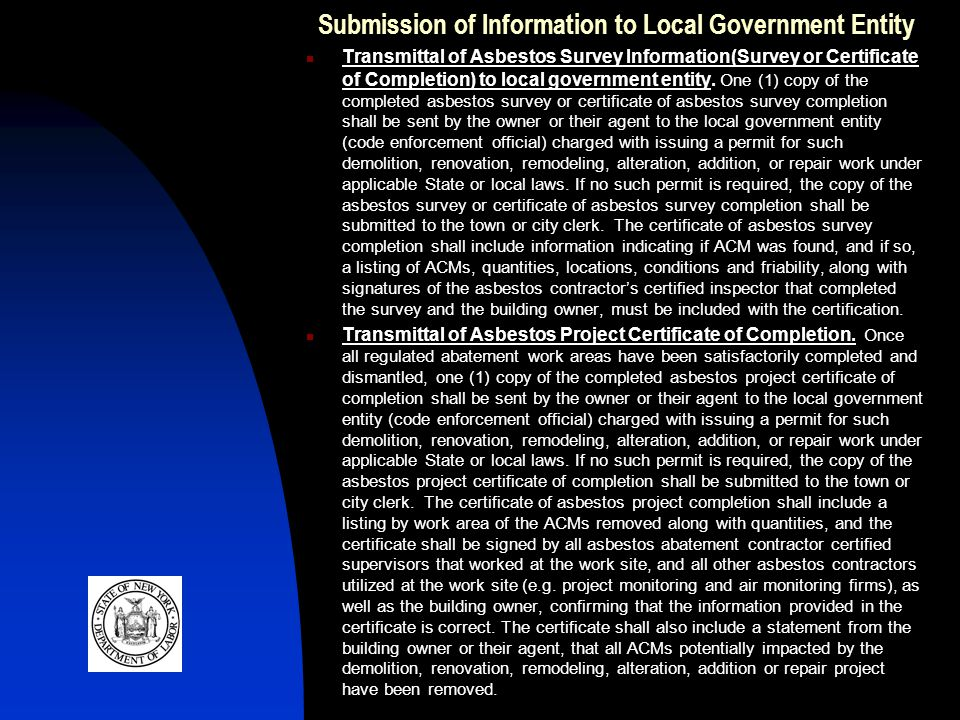 Submission of Information to Local Government Entity