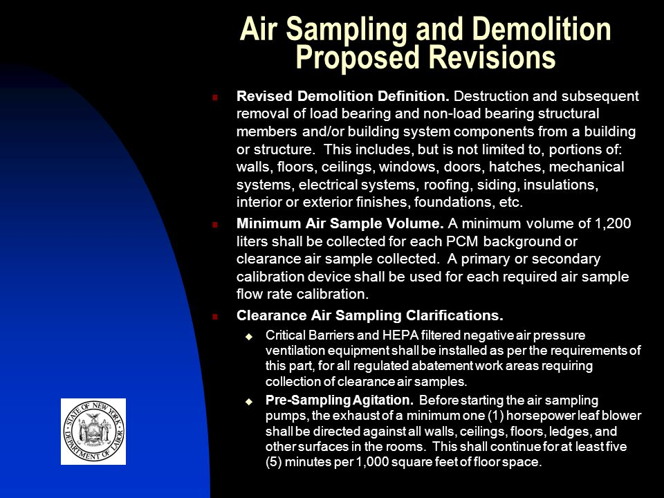 Air Sampling and Demolition Proposed Revisions