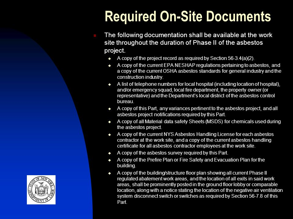 Required On-Site Documents