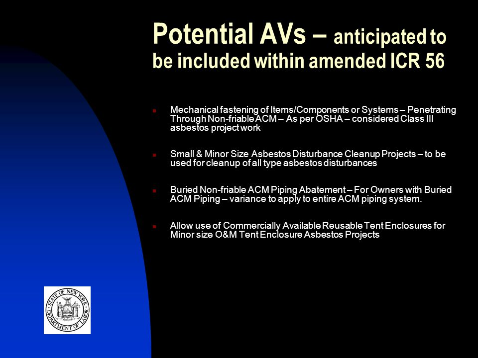 Potential AVs – anticipated to be included within amended ICR 56