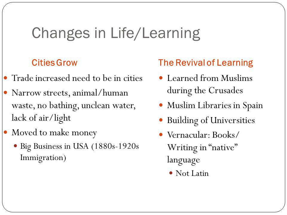 Changes in Life/Learning
