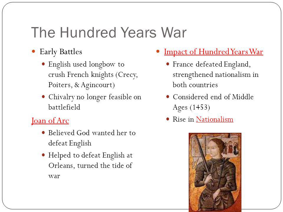 The Hundred Years War Early Battles Joan of Arc