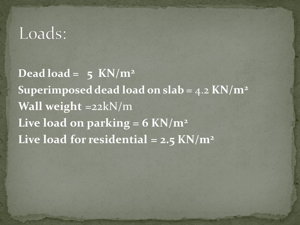 Loads: Wall weight =22kN/m Live load on parking = 6 KN/m2