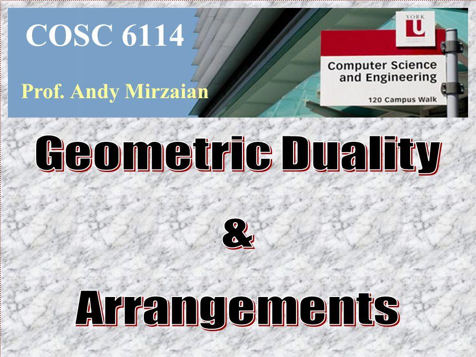 COSC 6114 Prof. Andy Mirzaian Geometric Duality & Arrangements