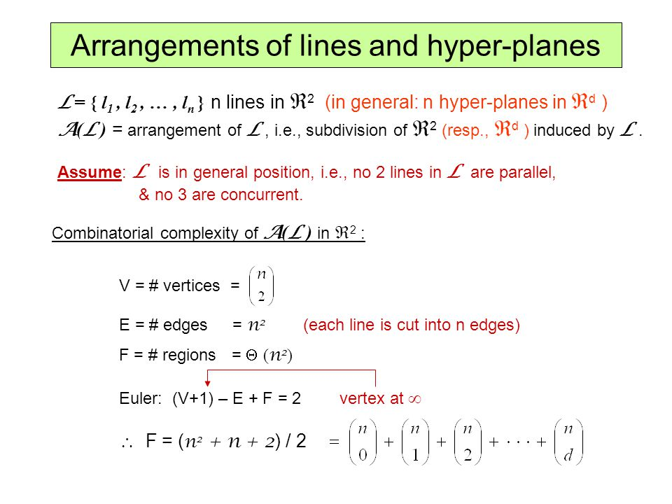 Arrangements of lines and hyper-planes