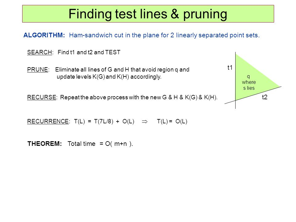 Finding test lines & pruning