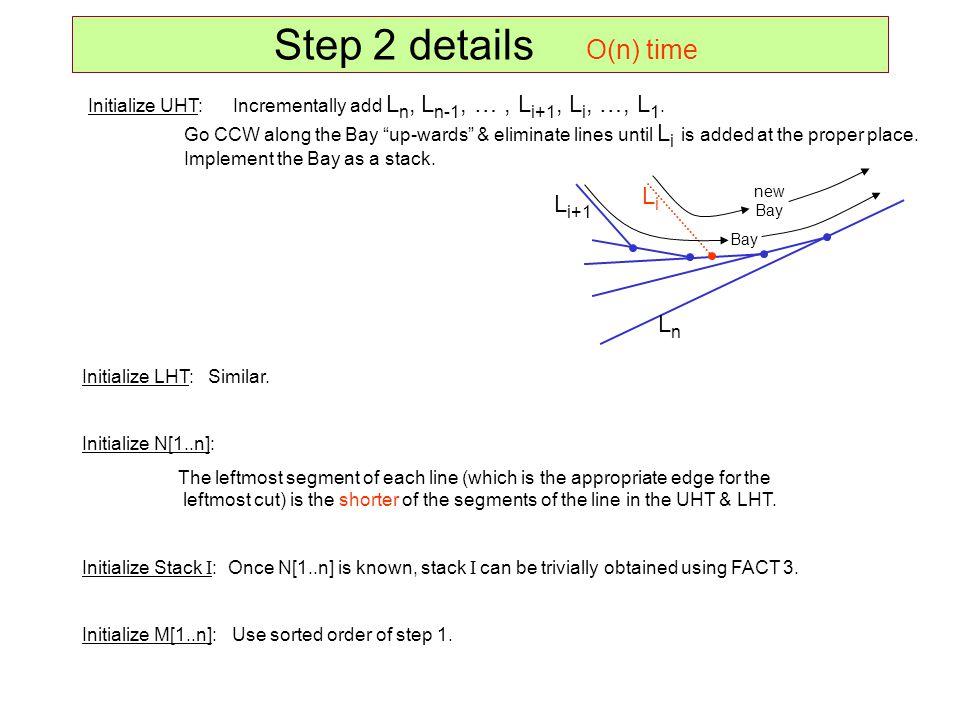 Step 2 details O(n) time Li Li+1 Ln