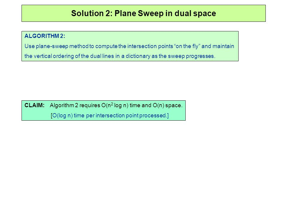 Solution 2: Plane Sweep in dual space