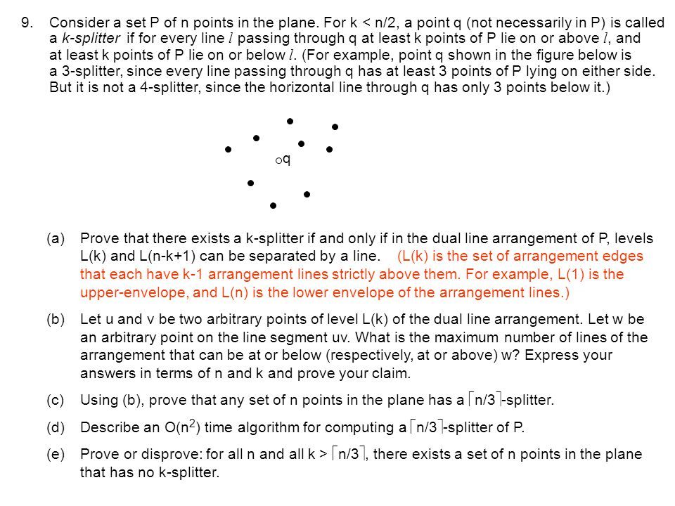 Consider a set P of n points in the plane