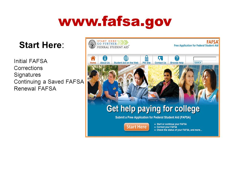 www.fafsa.gov Start Here: Initial FAFSA Corrections Signatures