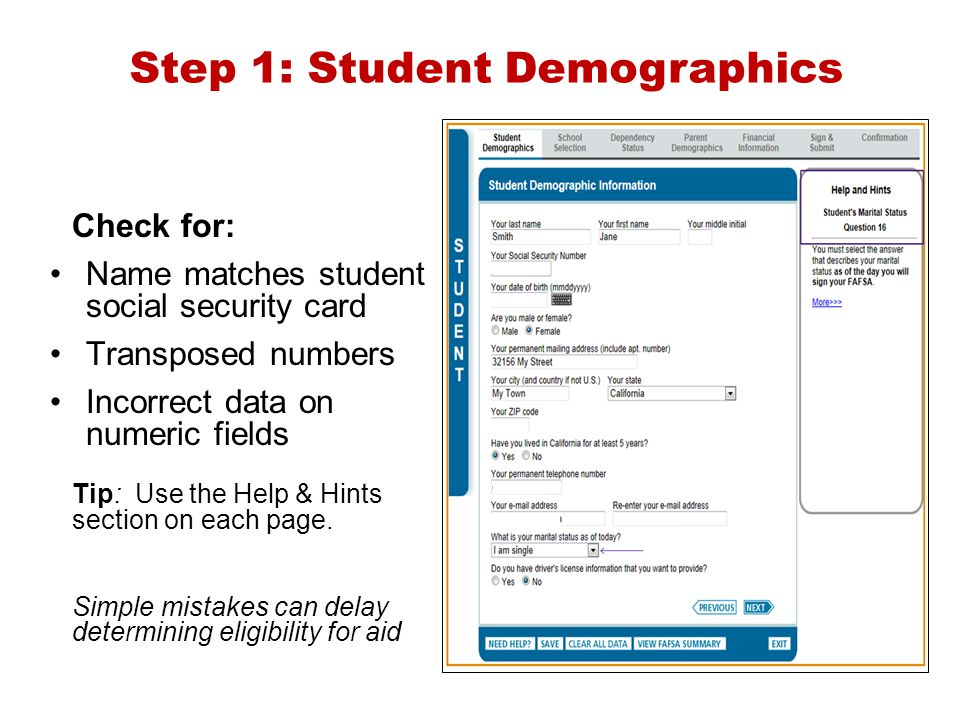Step 1: Student Demographics