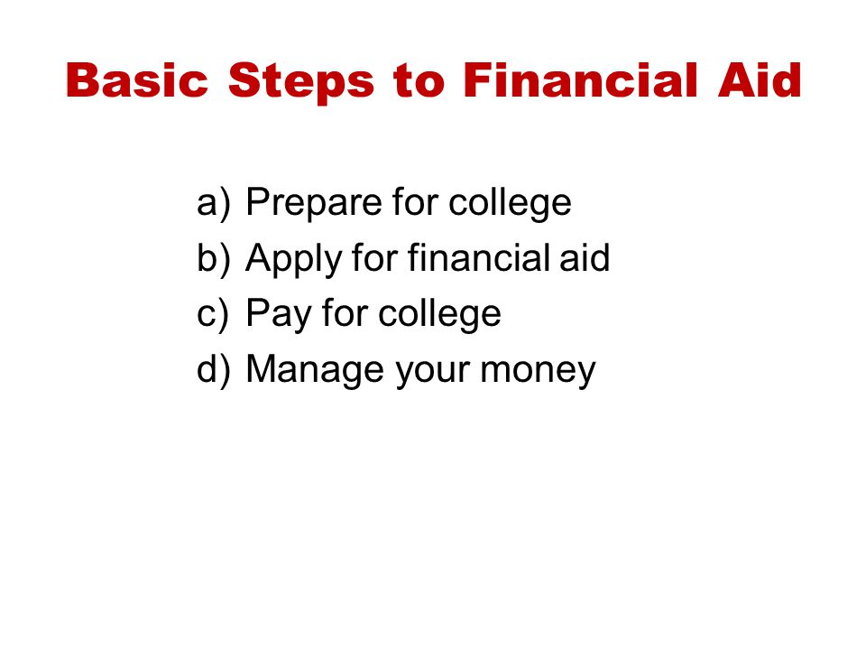 Basic Steps to Financial Aid